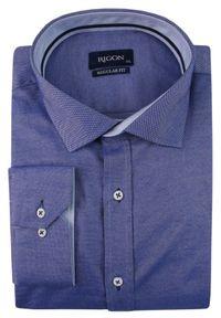 Niebieska elegancka koszula Rigon długa, z klasycznym kołnierzykiem, z długim rękawem, na spotkanie biznesowe
