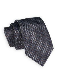Brązowo-Niebieski Elegancki Krawat -Angelo di Monti- 7 cm, Męski, Wzór 3D, Geometryczny. Kolor: niebieski, beżowy, brązowy, wielokolorowy. Wzór: geometria. Styl: elegancki