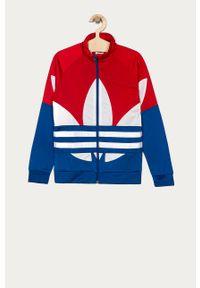 Czerwona bluza rozpinana adidas Originals bez kaptura, casualowa, na co dzień, raglanowy rękaw