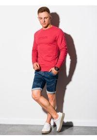 Ombre Clothing - Bluza męska bez kaptura z nadrukiem B1160 - czerwona - XXL. Typ kołnierza: bez kaptura. Kolor: czerwony. Materiał: bawełna, poliester. Wzór: nadruk