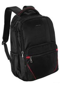 DAVID JONES - Plecak czarny z czerwonymi wstawkami David Jones PC-024 BLACK-RED. Kolor: wielokolorowy, czerwony, czarny. Materiał: materiał. Wzór: aplikacja