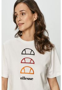 Biała bluzka Ellesse z aplikacjami, casualowa, na co dzień