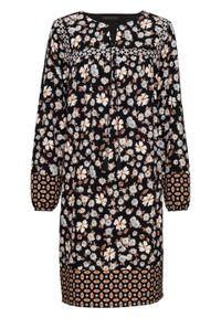 Sukienka z nadrukiem, długi rękaw bonprix czarno-brązowo-niebieski z nadrukiem. Kolor: czarny. Materiał: tkanina. Długość rękawa: długi rękaw. Wzór: nadruk. Styl: boho