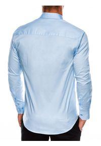 Ombre Clothing - Koszula męska slim z długim rękawem K504 - błękitna - XXL. Typ kołnierza: kołnierzyk klasyczny. Kolor: niebieski. Materiał: elastan, bawełna. Długość rękawa: długi rękaw. Długość: długie. Styl: elegancki, klasyczny