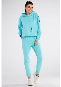 Infinite You - Bawełniane Spodnie z Podwiniętą Nogawką - Niebieskie. Kolor: niebieski. Materiał: bawełna