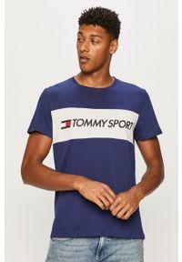 Niebieski t-shirt Tommy Sport z okrągłym kołnierzem, na co dzień