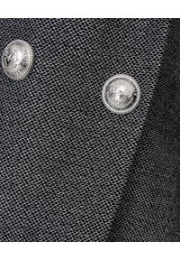 Balmain - BALMAIN - Sukienka mini z guzikami. Okazja: na imprezę. Kolor: szary. Materiał: materiał. Długość rękawa: długi rękaw. Długość: długie