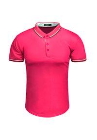 Różowa koszulka polo Recea polo, casualowa, z krótkim rękawem, na co dzień