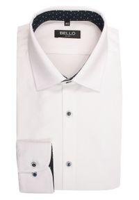 Biała elegancka koszula Bello do pracy, długa, z długim rękawem