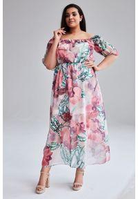 Różowa sukienka dla puszystych Moda Size Plus Iwanek na imprezę, na wiosnę, maxi, plus size