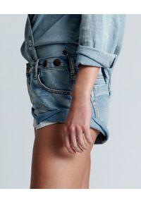 ONETEASPOON - Jeansowe szorty Bandits Hendrixe. Stan: obniżony. Kolor: niebieski. Materiał: jeans. Wzór: aplikacja