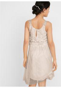 Sukienka dziewczęca na uroczyste okazje bonprix biel wełny. Kolor: biały. Materiał: wełna #4