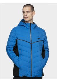 4f - Kurtka narciarska męska. Typ kołnierza: kaptur. Kolor: niebieski. Materiał: puch, mesh, materiał, syntetyk. Sezon: zima. Sport: narciarstwo