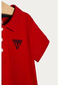 Czerwony t-shirt polo Guess Jeans polo, na co dzień, casualowy