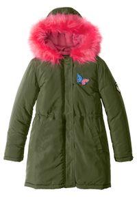 Zielony płaszcz bonprix na zimę, z kapturem