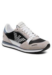 Emporio Armani - Sneakersy EMPORIO ARMANI - X4X537 XM678 Q091 Plast/Op. Wht/Navy/Gr. Kolor: szary. Materiał: skóra, materiał, zamsz. Szerokość cholewki: normalna