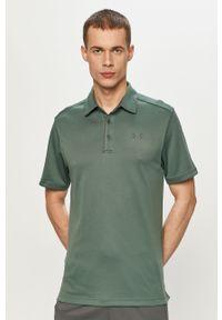 Zielona koszulka polo Under Armour casualowa, na co dzień, gładkie