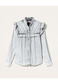 TwinSet - TWINSET - Jeansowa koszula z falbankami. Typ kołnierza: kołnierz z falbankami. Kolor: szary. Materiał: jeans. Długość rękawa: długi rękaw. Długość: długie. Wzór: aplikacja