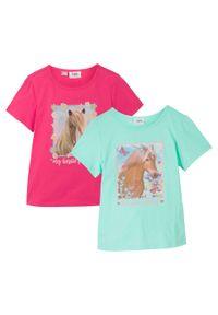 T-shirt dziewczęcy (2 szt.), bawełna organiczna bonprix jasny miętowy - ciemnoróżowy. Kolor: zielony. Materiał: bawełna. Wzór: nadruk