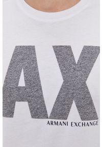 Armani Exchange - T-shirt. Kolor: biały. Materiał: dzianina. Wzór: nadruk