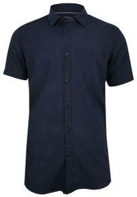 Niebieska koszula casual Brave Soul z krótkim rękawem, krótka, na co dzień