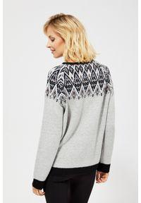 Szary sweter MOODO z długim rękawem, klasyczny, do kostek