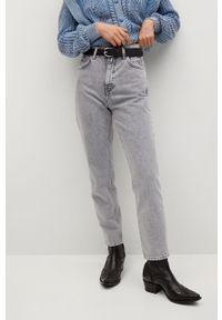 Szare jeansy loose fit mango z podwyższonym stanem