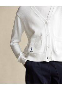 Ralph Lauren - RALPH LAUREN - Biały kardigan. Typ kołnierza: polo. Kolor: biały. Materiał: bawełna. Długość rękawa: długi rękaw. Długość: długie. Wzór: napisy