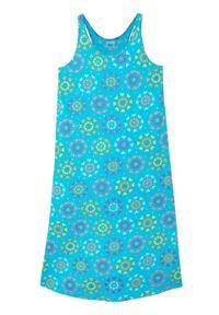 Letnia sukienka dziewczęca z dżerseju z bawełny organicznej bonprix niebieski karaibski. Kolor: niebieski. Materiał: bawełna, jersey. Wzór: kwiaty, nadruk. Sezon: lato