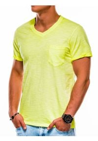 Żółty t-shirt Ombre Clothing