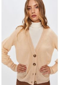 Beżowy sweter rozpinany ANSWEAR raglanowy rękaw, wakacyjny