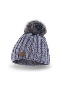 Zimowa czapka dziewczęca PaMaMi - Jasnoszary. Kolor: szary. Materiał: poliamid, akryl. Sezon: zima