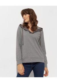 CAPPELLINI - Szara bluza z kapturem. Typ kołnierza: kaptur. Kolor: szary. Materiał: bawełna, wiskoza, jedwab, materiał. Długość rękawa: długi rękaw. Długość: długie