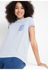 Shirt, krótki rękaw bonprix bialy / niebieski dżins W paski. Kolor: biały. Długość rękawa: krótki rękaw. Długość: krótkie. Wzór: paski