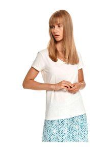 TOP SECRET - Gładki t-shirt damski z krótkim rękawem i dekoltem w serek. Typ kołnierza: dekolt w serek. Kolor: beżowy. Długość rękawa: krótki rękaw. Długość: krótkie. Wzór: gładki