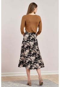 Marie Zélie - Spódnica Rachela Arcevia czarna. Kolor: czarny. Materiał: bawełna, wiskoza, tkanina. Wzór: gładki