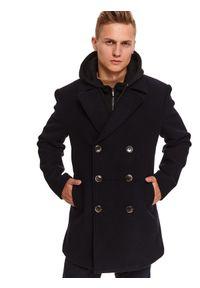TOP SECRET - Płaszcz typu bosmanka z wełnianej tkaniny. Kolor: niebieski. Materiał: tkanina, wełna. Sezon: zima. Styl: klasyczny, elegancki