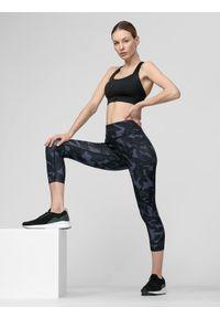 4f - Legginsy treningowe damskie. Stan: podwyższony. Kolor: niebieski. Materiał: włókno, dzianina, materiał. Sport: fitness
