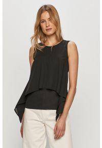 Trussardi Jeans - Bluzka. Okazja: na co dzień. Kolor: czarny. Materiał: tkanina. Styl: casual