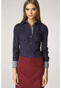 Niebieska koszula Nife w kratkę, elegancka