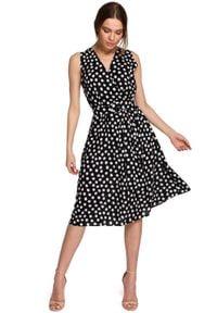 MOE - Rozkloszowana Sukienka w Grochy bez Rękawów - Czarna. Kolor: czarny. Materiał: wiskoza. Długość rękawa: bez rękawów. Wzór: grochy