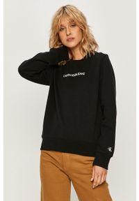 Czarna bluza Calvin Klein Jeans z aplikacjami, bez kaptura, casualowa, na co dzień
