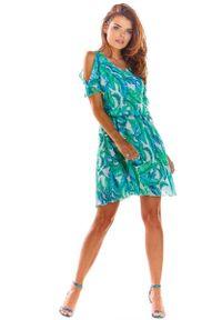 Zielona sukienka wizytowa Awama w kwiaty, na lato