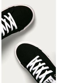 Czarne niskie trampki Calvin Klein Jeans z okrągłym noskiem, z cholewką, na sznurówki