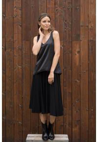 Czarna spódnica VEVA krótka, melanż, do pracy, na zimę