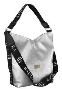 Shopper damski srebrny Badura T_D203SR/CHRAP_CD. Kolor: srebrny. Materiał: skórzane. Rodzaj torebki: na ramię