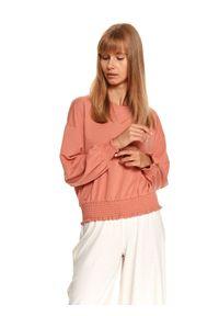 TOP SECRET - Krótka bluza zakończona szerokim ściągaczem. Okazja: na co dzień. Kolor: różowy. Materiał: materiał. Długość: krótkie. Wzór: gładki. Sezon: jesień. Styl: casual