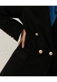 Marella - MARELLA - Czarny dwurzędowy płaszcz Nono. Kolor: czarny. Materiał: jersey, nylon, wełna. Długość rękawa: długi rękaw. Długość: długie. Styl: klasyczny