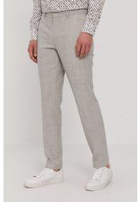 Hugo - Spodnie. Kolor: szary. Materiał: tkanina. Wzór: gładki