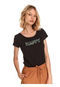 TOP SECRET - T-shirt damski z napisem. Okazja: do pracy. Kolor: czarny. Materiał: bawełna, tkanina. Długość rękawa: krótki rękaw. Długość: krótkie. Wzór: napisy. Sezon: wiosna